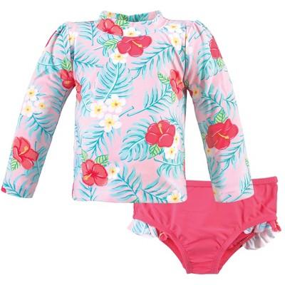 Hudson Baby Infant Girl Swim Rashguard Set, Tropical Floral