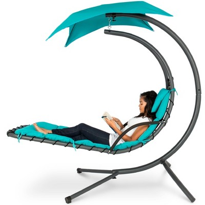 Best Choice Products Hanging Curved Chaise Lounge Chair Swing for Backyard, Patio w/ Pillow, Canopy, Stand