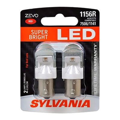 Sylvania Zevo 1156 Red LED Super Bright Interior and Exterior Rear Tail Brake Light Mini Light Bulb Set, 2 Pack