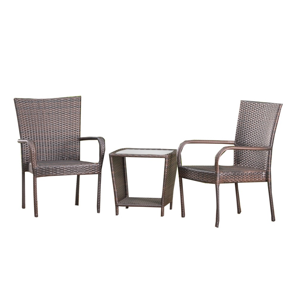 Sarah 3pc Wicker Chat Set - Multibrown - Christopher Knight Home, Brown
