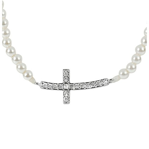 1/6 CT. T.W. Round-cut CZ Pave Set Faux Pearl Cross Pendant Necklace in Sterling Silver - Silver - image 1 of 2