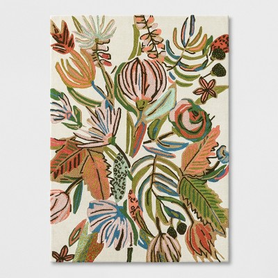 Pink/White/Green Floral Wool Tufted Area Rug 5'X7' - Opalhouse™