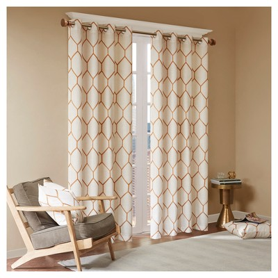 Peyton Metallic Geo Embroidered Single Window Curtain Panel