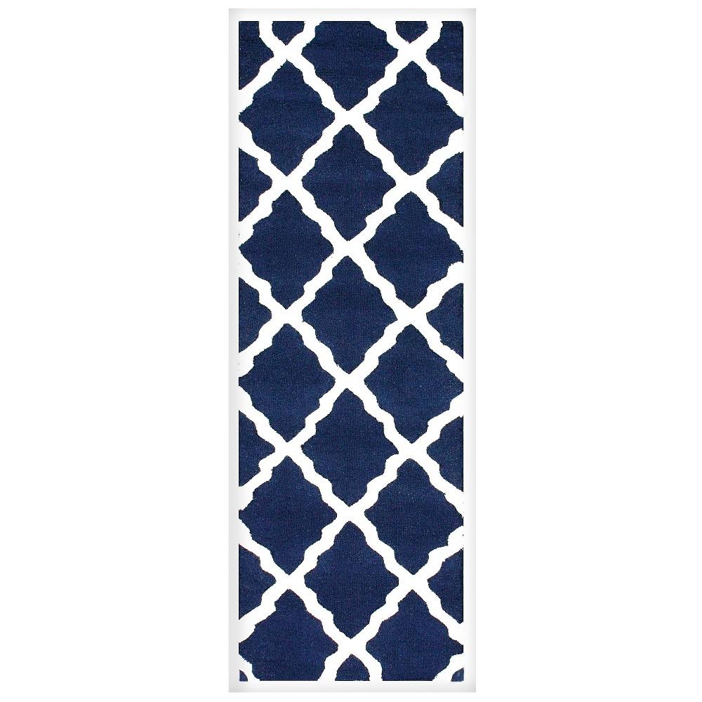nuLOOM 100% Wool Hand Hooked Marrakech Trellis Runner - Blue (2' 6 x 10')
