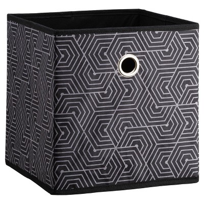 11  Fabric Cube Storage Bin Black Pattern - Room Essentials™