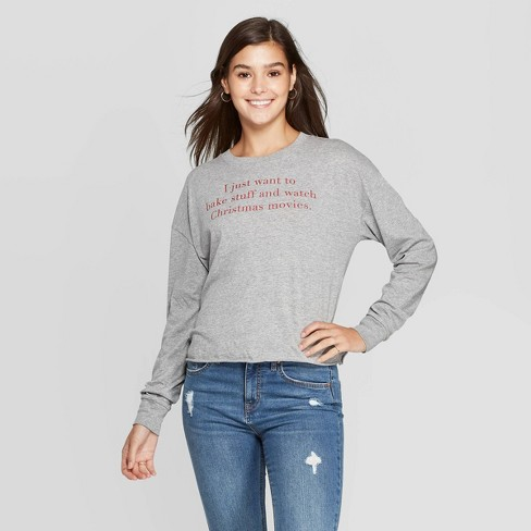 Women's Christmas Routine Long Sleeve T-Shirt (Juniors') - Athletic Heather - image 1 of 2