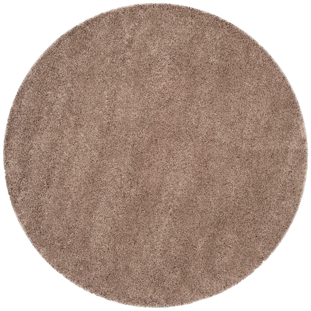 8'6 Solid Loomed Round Area Rug Light Gray - Safavieh, Brown
