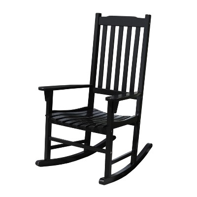 Northbeam OUtdoor Lawn Garden Solid Acacia Hardwood Slatted Back Adirondack Rocking Chair, Deck, Porch, & Patio Seating with 250 Pound Capacity, Black