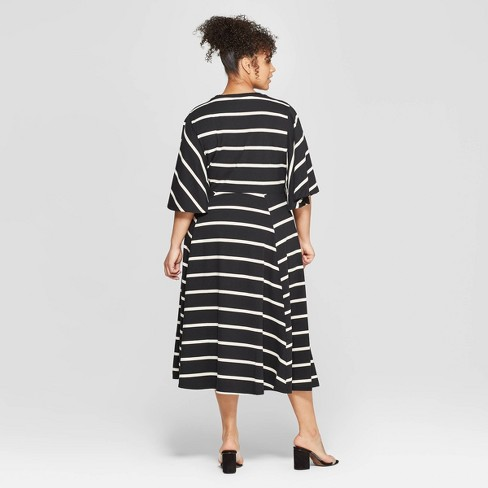 087dc014470 Women s Plus Size Striped Bell Sleeve Crewneck A-Line Dress - Who ...