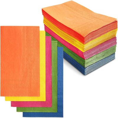 Sparkle and Bash 120 Pack Colorful Disposable Dinner Paper Cocktail Napkins Party Supplies, 4 x 8 in, 5 Colors