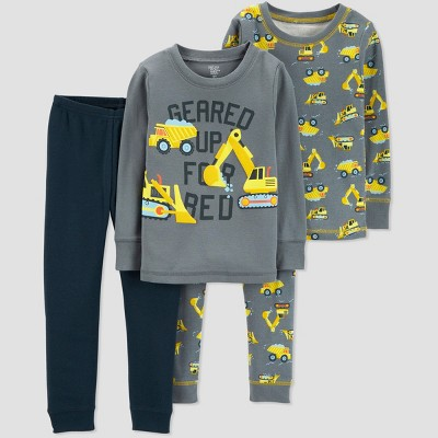 Baby Boys' 4pc Construction Pajama Set - Just One You® made by carter's Gray 9M