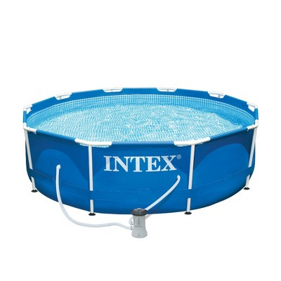 Intex 10ft x 30in Metal Frame Above Ground Pool & Intex Steel Frame Pool Ladder