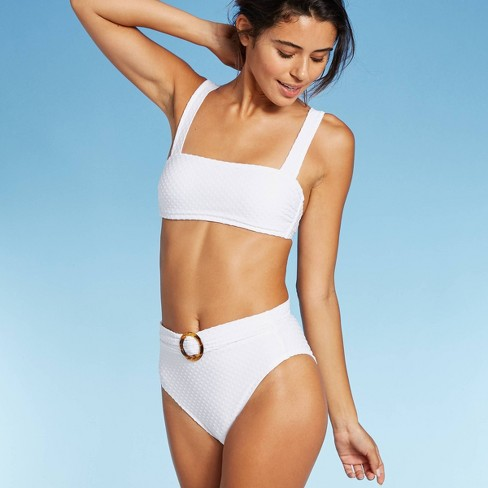 Women's Pique Square Neck Bralette Bikini Top - Xhilaration™ White  - image 1 of 4