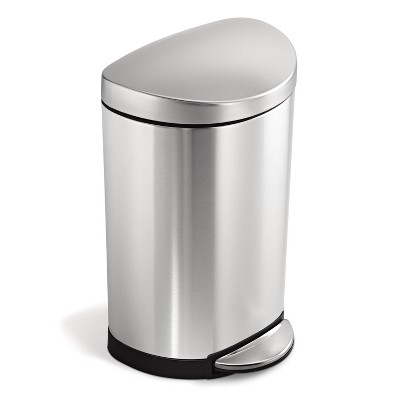 simplehuman 10L Semi-Round Step Trash Can Brushed Stainless Steel
