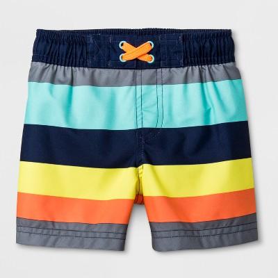 Baby Boys' Striped Swim Shorts - Cat & Jack™ Gray 12M
