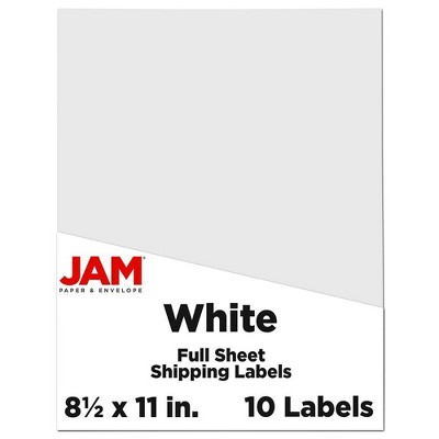 """JAM Paper Shipping Labels 8.5"""" x 11"""" 10ct - White"""