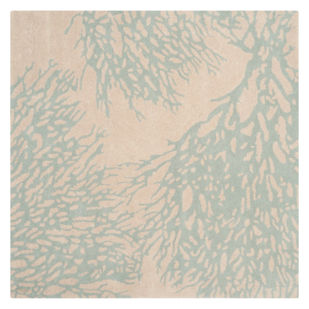 7'X7' Coral Branch Square Area Rug Beige/Blue - Safavieh