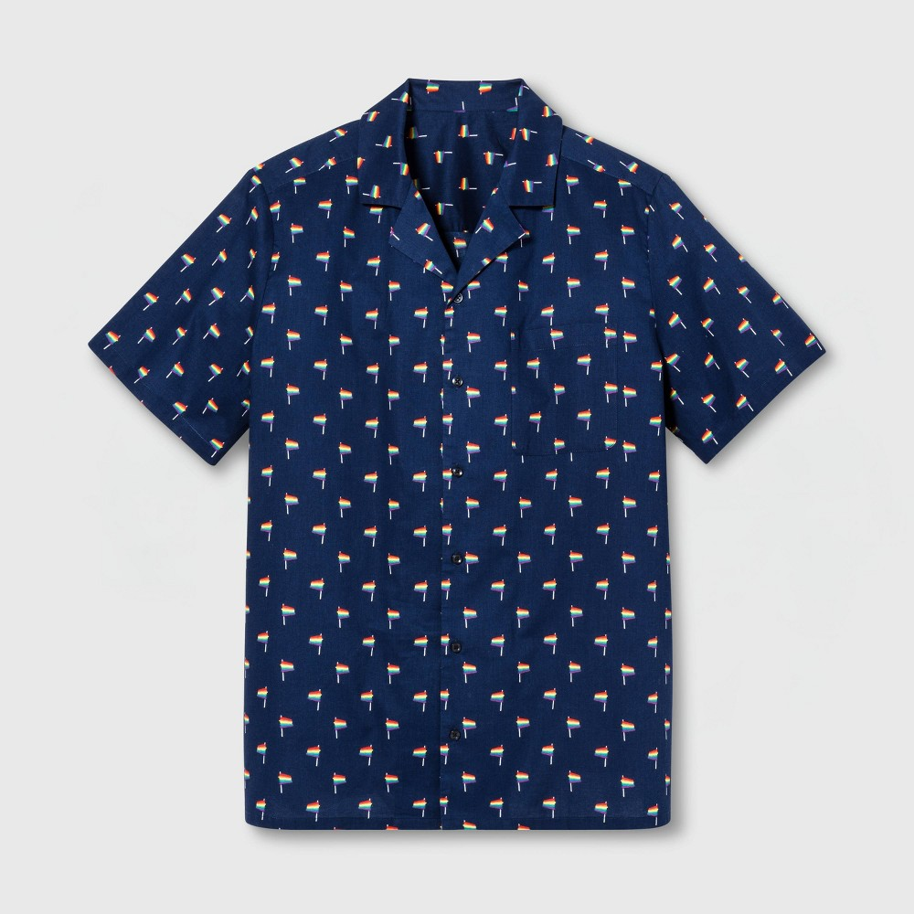 Pride Adult Extended Size Short Sleeve Gender Inclusive Button-Down Shirt - Navy 1XB, Adult Unisex, Blue