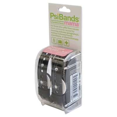 Psi Bands Mama Acupressure Wrist Bands for Nausea Relief-Racer Black