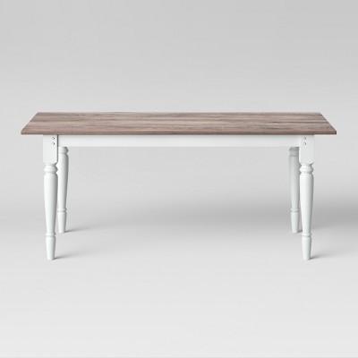 72  Bridgewater Farmhouse Turned Leg Table Rectangle White - Threshold™