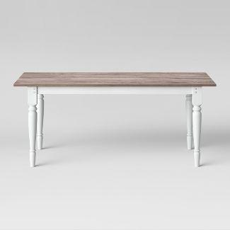 72u0022 Bridgewater Farmhouse Turned Leg Table Rectangle White - Threshold™