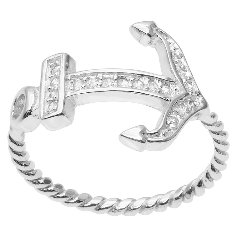 1/5 CT. T.W. Round Cut CZ Pave Set Anchored Ring in Sterling Silver - Silver (9)