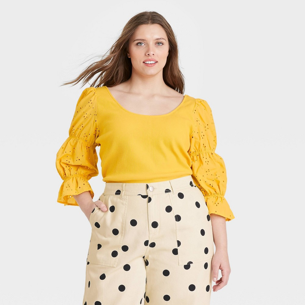 Women 39 S Plus Size Puff 3 4 Sleeve Scoop Neck T Shirt Who What Wear 8482 Yellow 2x