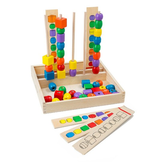 Melissa & Doug Bead Sequencing Set With 46 Wooden Beads and 5 Double-Sided Pattern Boards image number null