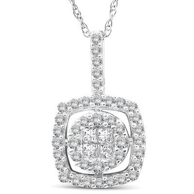 "Pompeii3 3/8 cttw Princess Cut Pave Diamond Halo Womens Pendant 10K White Gold 3/4"" Tall"