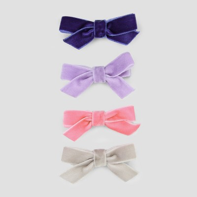 Toddler Girls' 4pk Velveteen Bow Hair Clips - Cat & Jack™