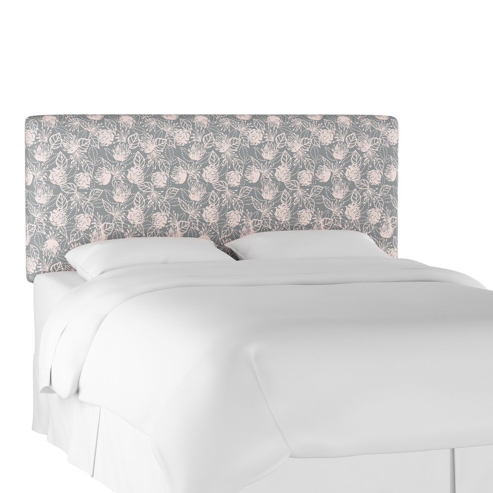 Upholstered Headboard Queen Sketch Floral Gray Pink - Project 62