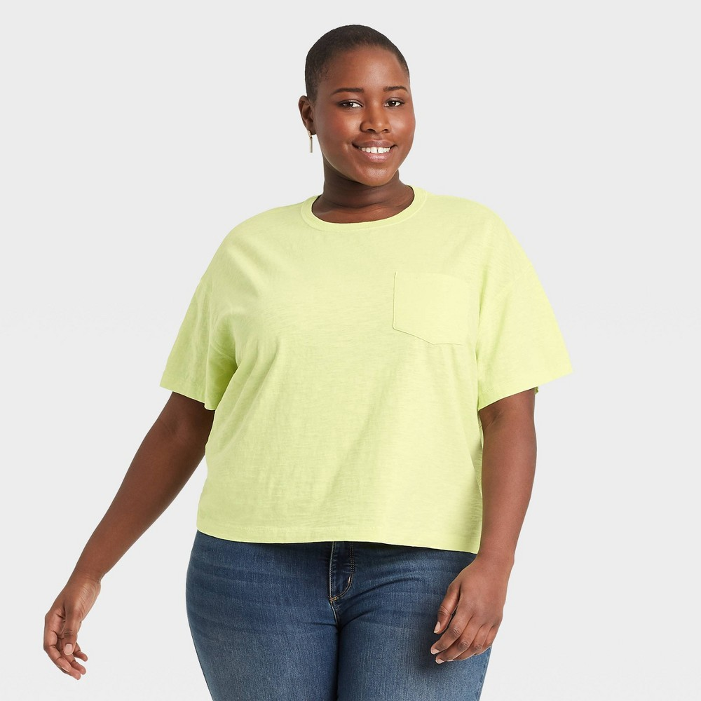Women 39 S Plus Size Short Sleeve Boxy T Shirt Universal Thread 8482 Lime Green 3x