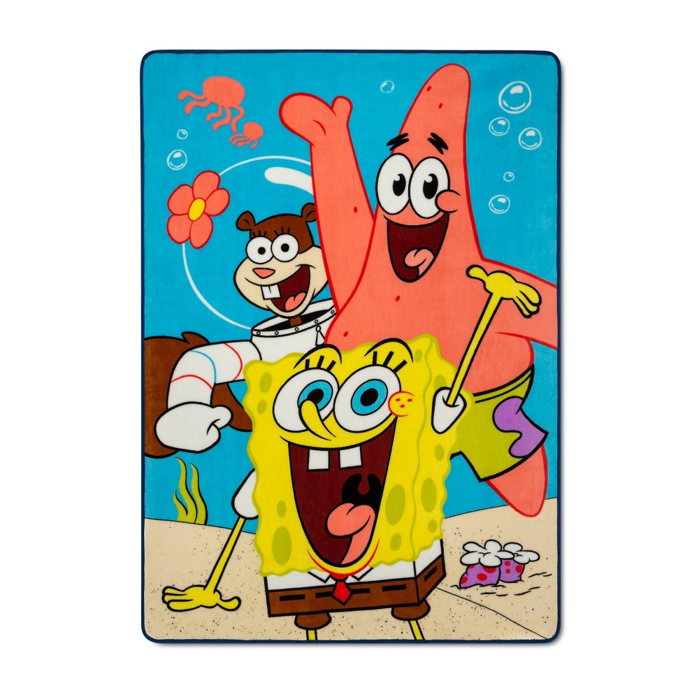 "Image of ""Twin 62""""x90"""" SpongeBob SquarePants Party in the Sand Bed Blanket"""