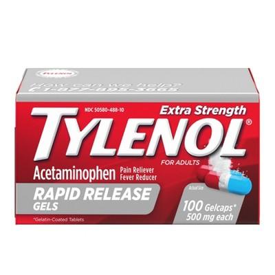 Pain Relievers: Tylenol Extra Strength Rapid Release Gels