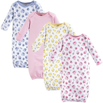 Luvable Friends Baby Girl Cotton Long-Sleeve Gowns 4pk, Floral, 0-6 Months