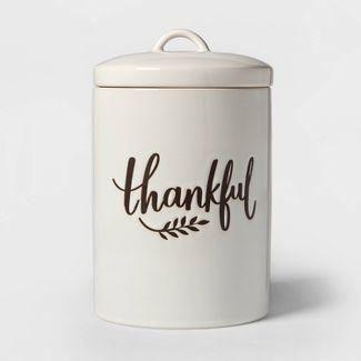 98oz Stoneware Thankful Cookie Jar White - Threshold™