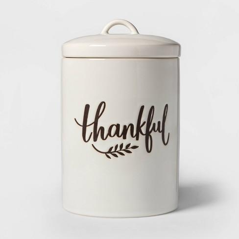 98oz Stoneware Thankful Cookie Jar White - Threshold™ - image 1 of 2