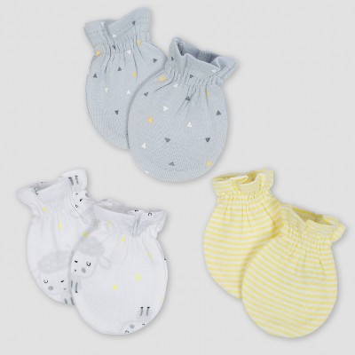 Gerber Baby's 3pk Mittens Sheep - Gray/White/Yellow 0/3M