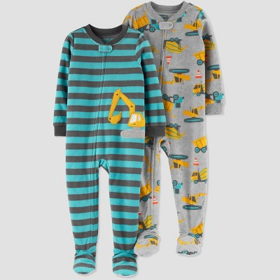 Baby Boys' Stripped Construction Fleece Footed Pajama - Just One You® made by carter's Green/Gray 9M