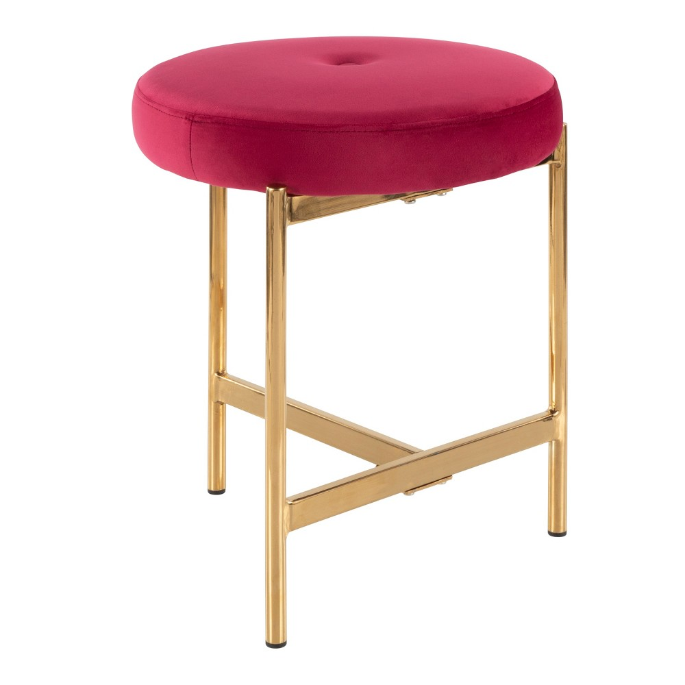 Chloe Contemporary Vanity Stool Pink/Gold - LumiSource