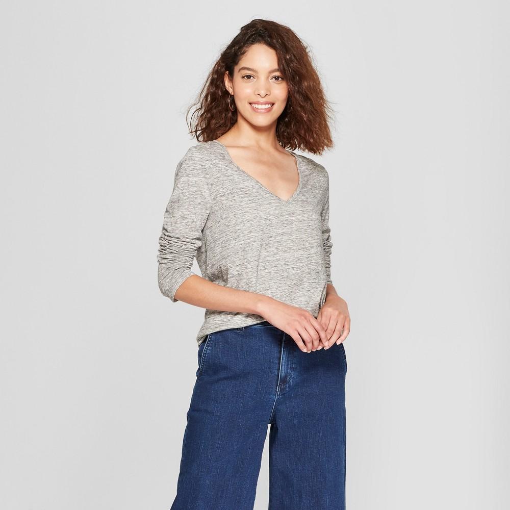 Women's Long Sleeve Vintage V-Neck T-Shirt - A New Day Spacedye Heather Gray XL, Spacedye Heather Grey