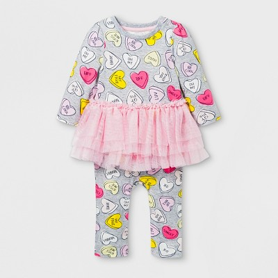 Baby Girls' Long Sleeve Conversation Hearts Tutu Romper - Cat & Jack™ Gray/Pink 3-6M