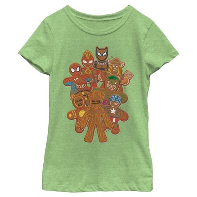 Girl's Marvel Christmas Gingerbread Cookie Heroes T-Shirt