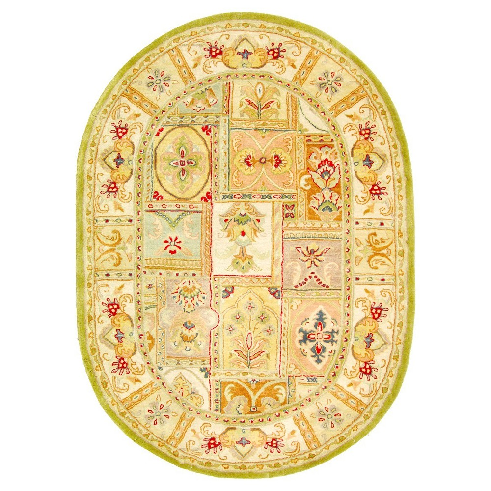 Floral Tufted Oval Area Rug 4'6
