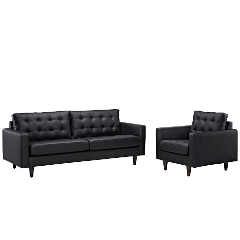 Empress Sofa and Armchair Set of 2 Black - Modway - image 1 of 7