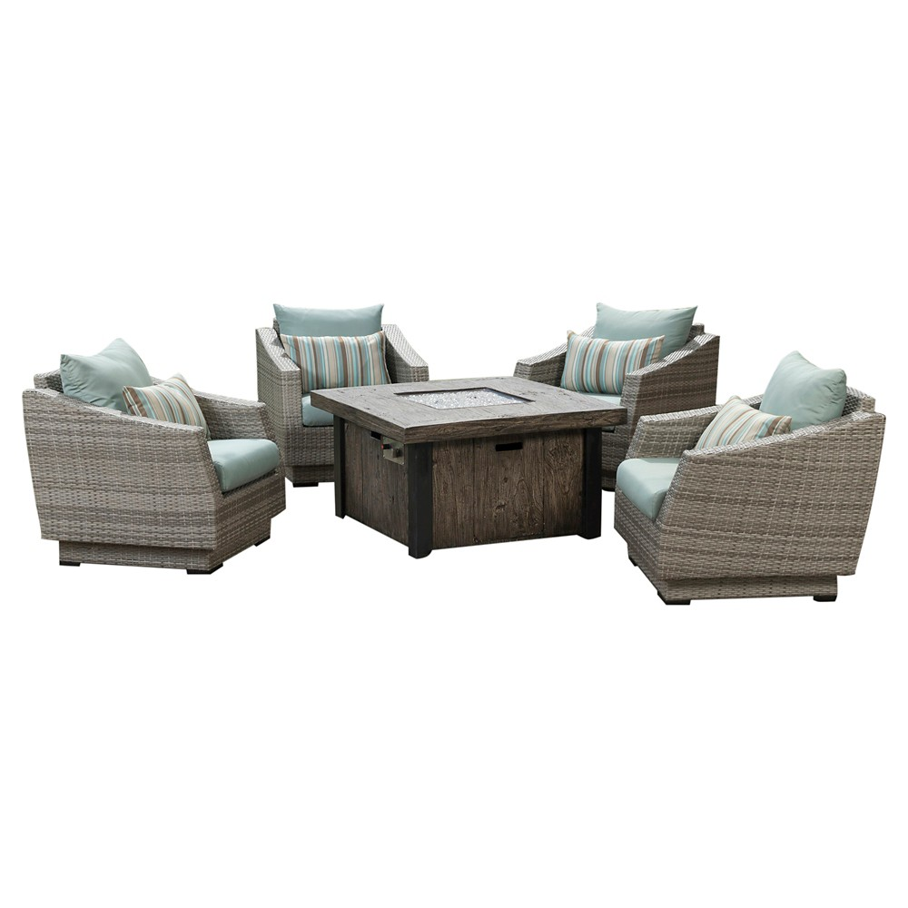 Cannes 5pc Metal Outdoor Fire Pit Chat Set - Bliss Blue - Rst Brands