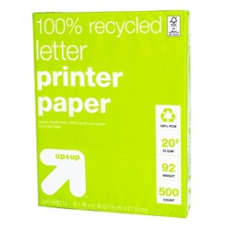 500ct 100% Recycled Letter Printer Paper White - Up&Up™