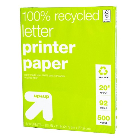 500ct 100% Recycled Letter Printer Paper White - up & up™ - image 1 of 1