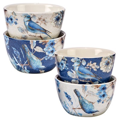 Certified International® Indigold Lisa Audit Ceramic Bowls 22oz Blue - Set of 4