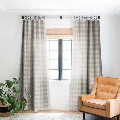 Alisa Galitsyna Gingham Cloth Beige Checks Single Panel Blackout Window Curtain - Society6